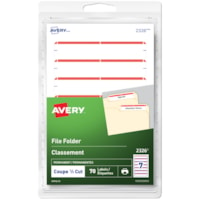 Avery 2326 File Folder Labels, Red, 3 1/2