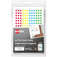 Avery 2370 See-Thru Removable Colour-Coding Labels, Assorted Colours, 1/4