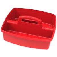Grand bac de rangement à deux compartiments Storex, rouge