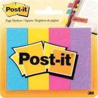Signets Post-it, couleurs ultravives variées, 1 po x 3 po, blocs de 50 signets, emb. de 4