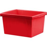 Storex Small Classroom Storage Bin, Red, 15 L