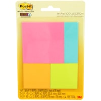 Post-it Super Sticky Notes Combo Pack in Miami Colour Collection, Unlined, Assorted Sizes, 4 Pads/PK
