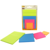 Post-It Super Sticky Notes Combo Pack, Assorted Colours, Lined/Unlined, Assorted Sizes, 4 Pads/PK