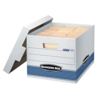 Bankers Box Stor/File Medium-Duty Storage Box, White/Blue, Letter/Legal Size