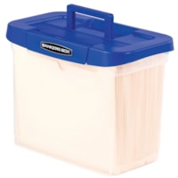 Bankers Box Heavy-Duty Portable Plastic File/Storage Box, With Handle, Clear with Blue Lid, Letter Size