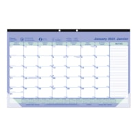 Blueline 12-Month Monthly Desk Pad or Wall Calendar, 17 3/4