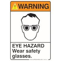 Safety Media Safety Warning Sticker, Eye Hazard Warning, 7