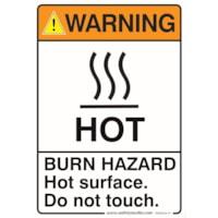 BURN HAZARD WARNING 7X10