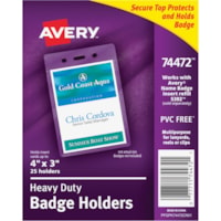 Avery Heavy Duty Flexible Secure Top Vertical Name Badge Holders, Clear, 4