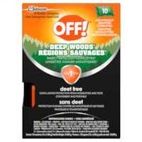 OFF! Deep Woods Deet-Free Insect Repellent Wipes, 10/PK