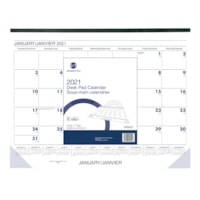 Grand & Toy 13-Month Monthly Desk Pad Calendar, 22