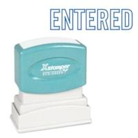 Xstamper Stock Stamp, ENTERED, Blue Ink, 1/2