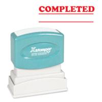 Xstamper Stock Stamp, COMPLETED, Red Ink, 1/2
