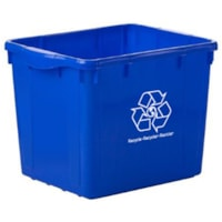 Globe Commercial Products Curbside Recycling Bin, Blue, 16-Gallon Capacity