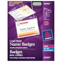 Avery 5393 Cord-Style Hanging Name Badge Kit, White, 4