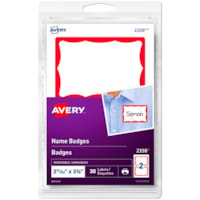 Avery Removable Print/Write Self-Adhesive Name Badge Labels, White with Red Border, 2 11/12