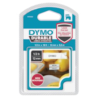 DYMO D1 Durable Label Cassette, Black Ink/White Tape, 12 mm x 5 1/2 m
