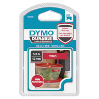 DYMO D1 Durable Label Cassette, White Ink/Red Tape, 12 mm x 3 m