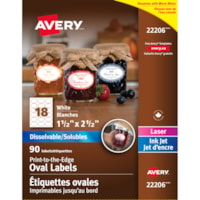 Avery 22206 Print-to-the-Edge Dissolvable Oval Labels, White, 1 1/2
