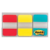 Onglets durables Post-it, rouge/jaune/bleu, 1 po x 1/2 po, 22 onglets de chaque couleur, emb. de 66