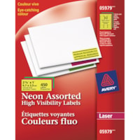 Avery 5979 High-Visibility Rectangular Laser Labels, Assorted Neon, 2 5/8