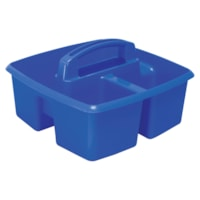 Petit bac de rangement à trois compartiments Storex, bleu