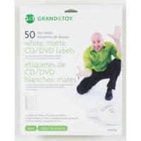 Grand & Toy Matte White Laser/Inkjet CD/DVD Labels