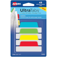 Avery UltraTabs Repositionable Page Margin Tabs, Assorted Primary Colours,  2 1/2