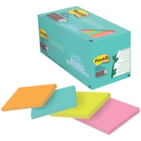 Feuillets super collants pour bureau Post-it, collection Miami, non lignés, 3 po x 3 po, blocs de 70 feuillets, emb. de 24