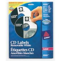 Avery 5931 Removable CD/DVD Laser Labels, White, 4 5/8