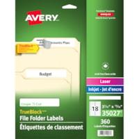 Étiquettes de classement blanches de très grand format pour imprimantes laser/jet d'encre TrueBlock Avery