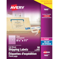 Avery 7665 Large Glossy Easy Peel Shipping Labels, Clear, 8 1/2
