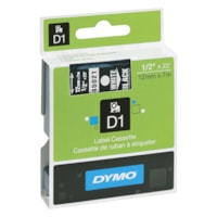 DYMO D1 Label Cassette, White Type/Black Tape, 12 mm x 7 m