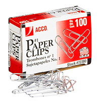 Acco Paper Clips, #1, Smooth Finish, Silver, 100/PK