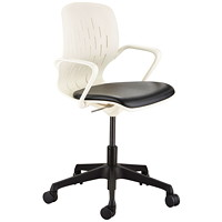 Safco Shell Desk Chair, White Back/Black Seat