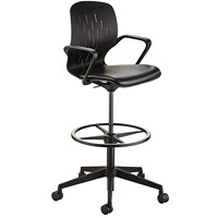 Safco Shell Extended Height Desk Chair, Black