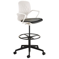 Safco Shell Extended Height Desk Chair, White Back/Black Seat