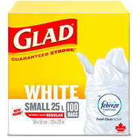 Glad White Garbage Bags, Febreze Fresh Clean Scent, Small 25 L, 100/PK