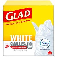 Sacs à ordures blancs Glad avec Febreze senteur fraîche et propre, petit format, 25l, emb. de 100