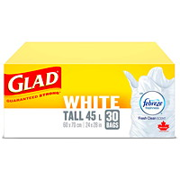 Sacs à ordures blancs Glad avec Febreze senteur fraîche et propre, grand format, 45l, emb. de 30