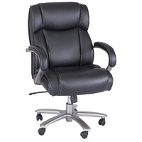 Safco Lineage Big and Tall High-Back Task Chair, Black, Leather