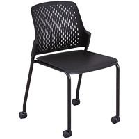 Safco Next Stackable Chairs with Casters, Black, 4/PK
