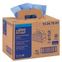 Chiffons industriels en papier pliés à 4 épaisseurs Tork, boîte pratique, bleu, boîte de 180