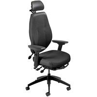 ergoCentric airCentric 2 Multi-Tilt Task Chair, Small Size, Black, With Headrest