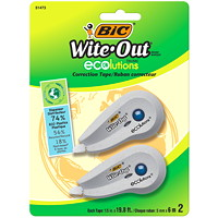 BIC Wite-Out Brand ECOlutions Mini Correction Tape, White, 2/PK