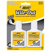 BIC Wite-Out Brand Quick Dry Correction Fluid, White, 2/PK