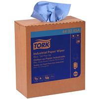 Chiffons industriels en papier pliés à 4 épaisseurs Tork, distribution par le haut, bleu, boîtes de 90, caisse de 10