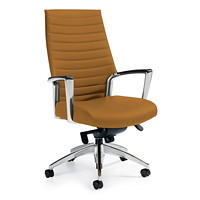 Global Accord Knee-Tilter Chair, High Back, Cookie, Allante FRee Fabric