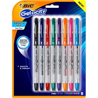 BIC Gel-ocity Smooth Gel Stick Pens, Assorted Colours, Fine 0.5 mm, 8/PK