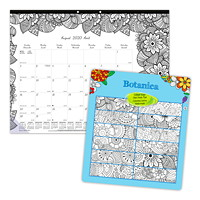 Blueline 12-Month Botanica Design Academic Colouring Desk Pad Calendar, 22